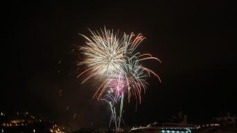 Spectacular firework in Ibiza